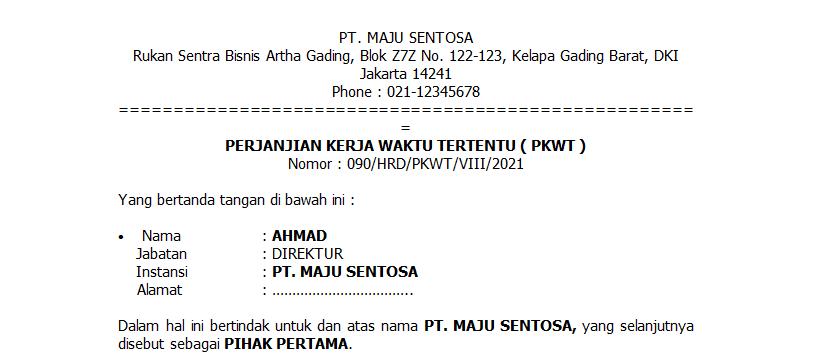 contoh kontrak kerja karyawan pkwt