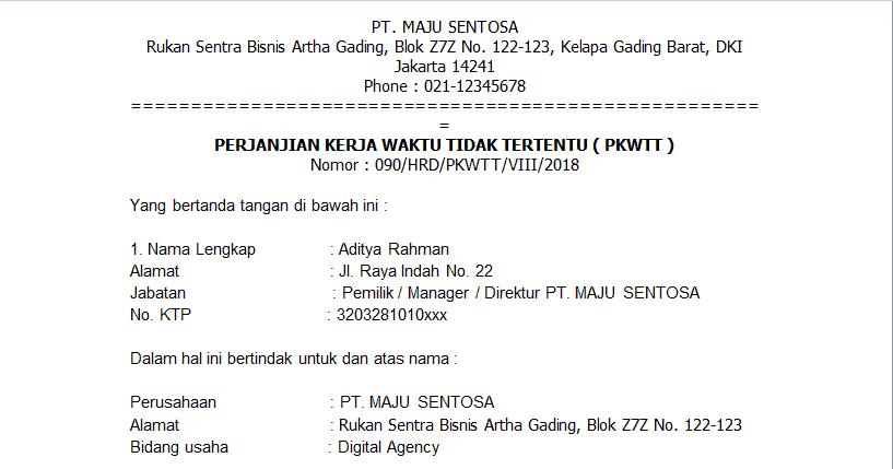 Contoh surat perjanjian kerja karyawan tetap swasta PKWTT