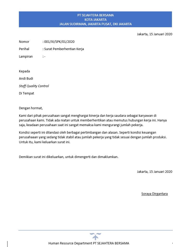Berikut adalah contoh surat phk, surat pemberhentian kerja, dan contoh surat pemutusan hubungan kerja.