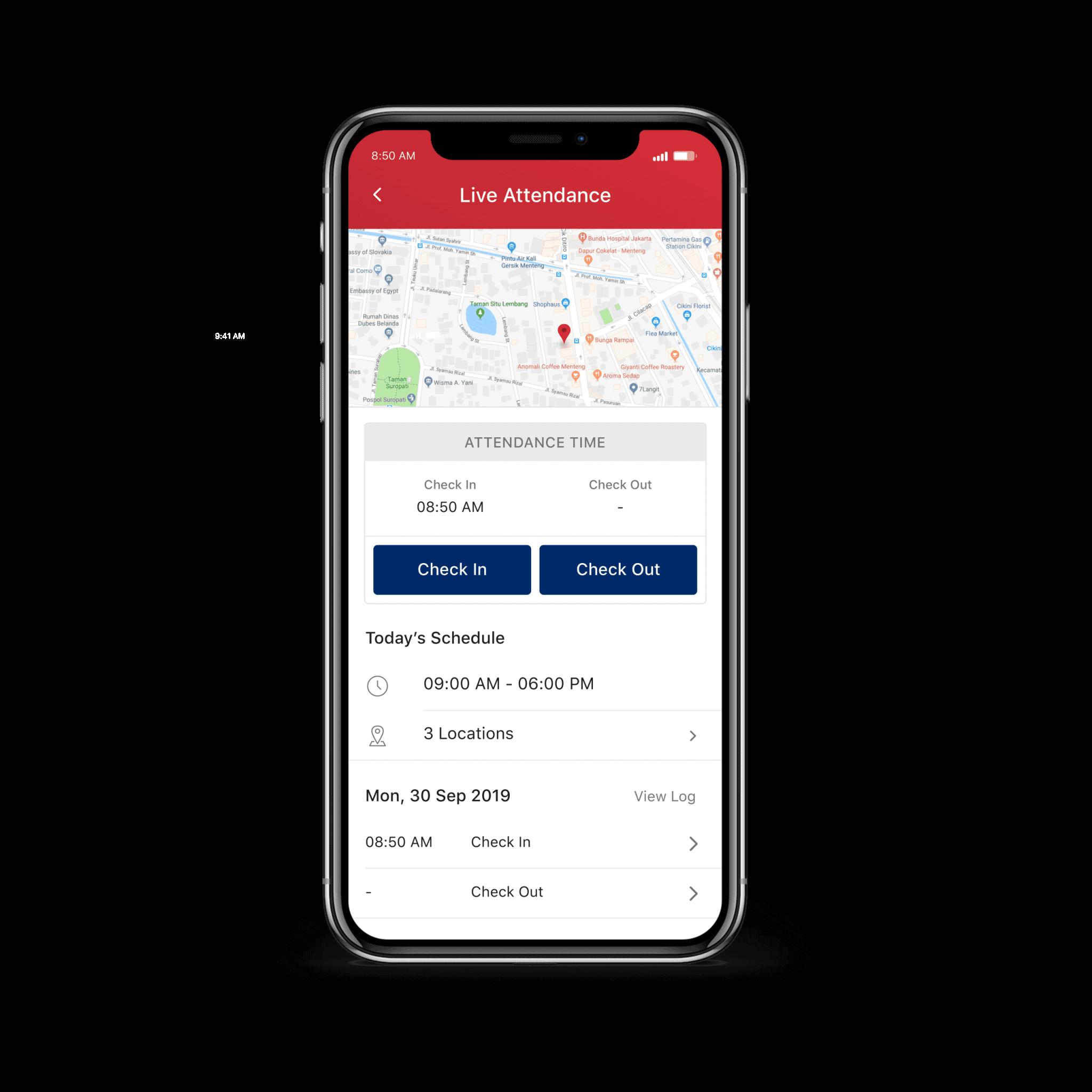 Sistem absensi ESS, absensi online berbasis GPS Talenta HRIS.